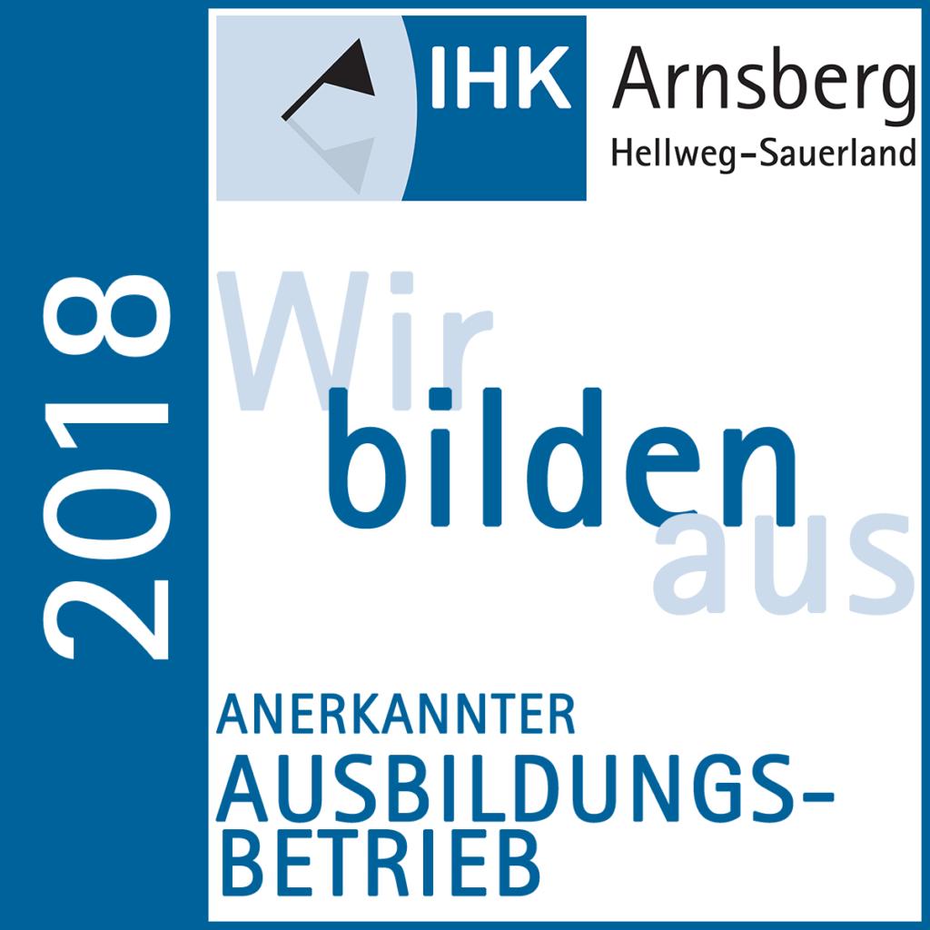Anerkannter Ausbildungsbetrieb der IHK Arnsberg